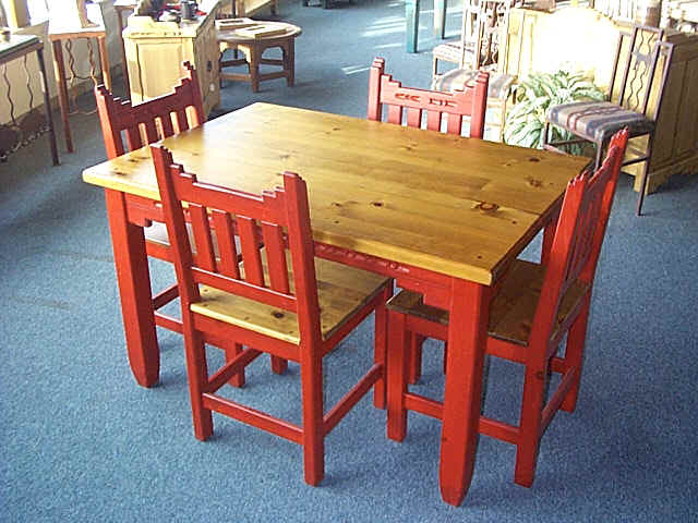 New mexico southwest style dining set tables chairs for Mexican dining room ideas