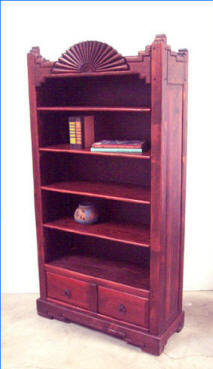 Aurora Book Case, Red Mahogany Stain