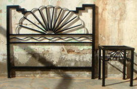 Aurora Metal Bed Head Board And Night Table