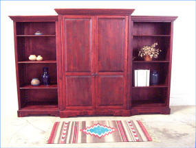 Corrales Three Piece Book Case System, Red mahogany Stain