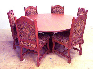 "Old World Dining Set Round 6 Chairs, 60"" Wide"