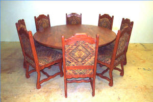 Old World Round Dining Set 8 Chairs
