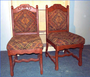 Old World Side Chairs, Fabric Cushion
