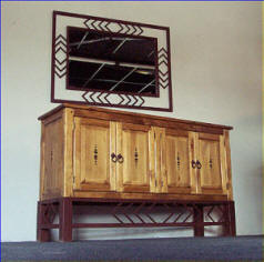 Taos Cabinet On Iron Stand, Navajo Mirror Frame