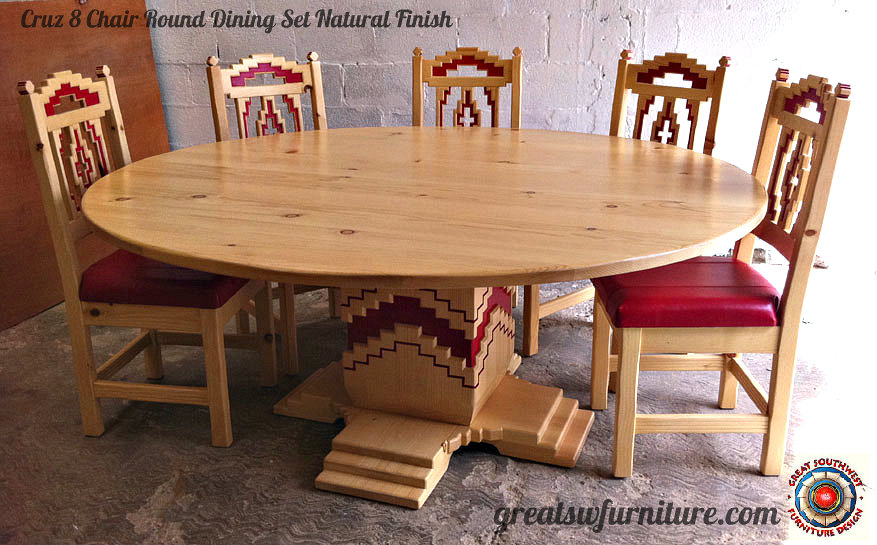 Cruz Southwest Style Round Dining Set Tables Chairs