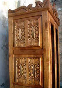 Old World Curio Cabinet, Carvings Detail