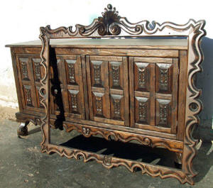 Old World Buffet & Mirror Frame