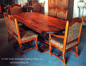 Old World Dining Set, Alder Wood Square Table