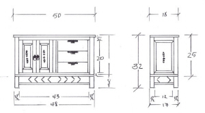 Taos, Plasma TV Stand, Metal Base, Drawing