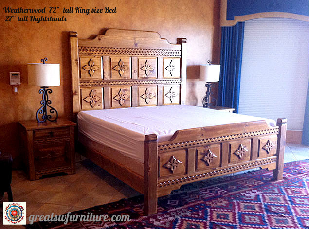 "Weathered King Bed 78"" Tall"